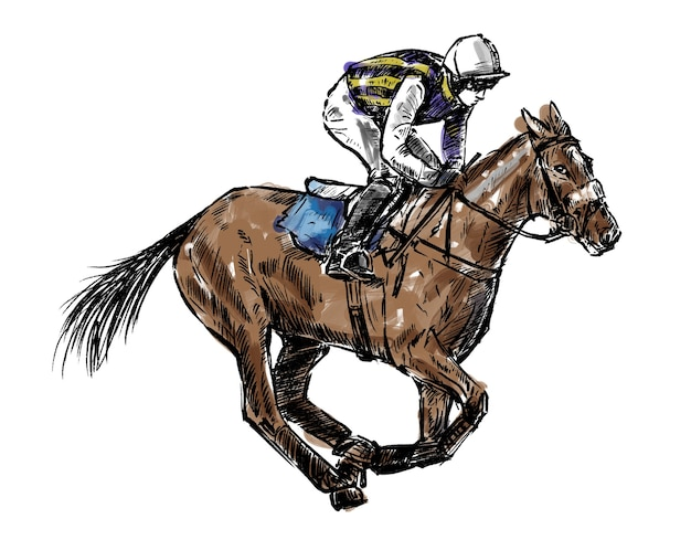 Skizze des jockey hand draw Premium Vektoren