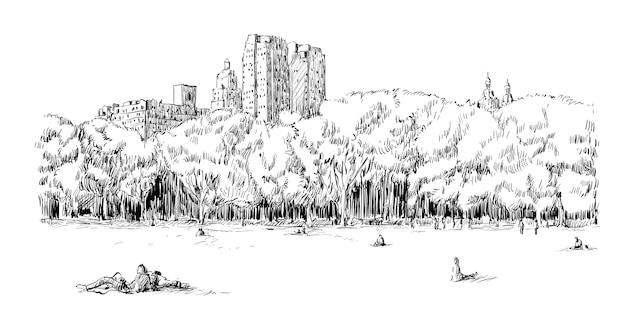 Skizze des stadtbildes in new york city zeigen central park field und menschen Premium Vektoren