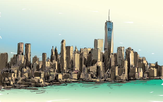 Skizze des stadtbildes in new york zeigen manhattan midtown mit wolkenkratzern, illustration Premium Vektoren