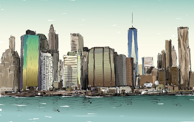 Skizze des stadtbildes in new york zeigen manhattan midtown mit wolkenkratzern, illustration Premium Vektoren