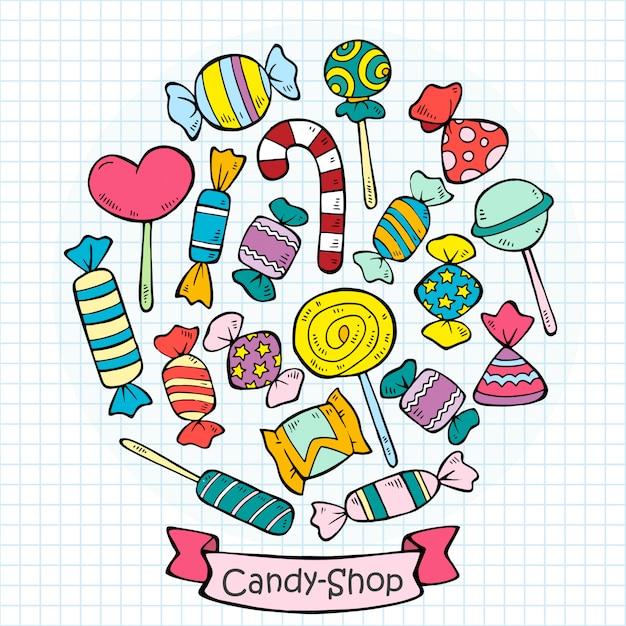 Skizze farbige süßigkeiten und lutscher sammlung Kostenlosen Vektoren
