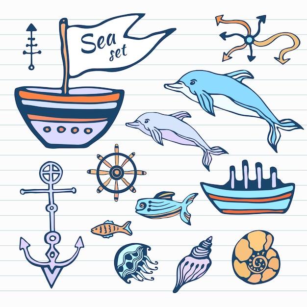 Skizze handgezeichnete doodle set Premium Vektoren