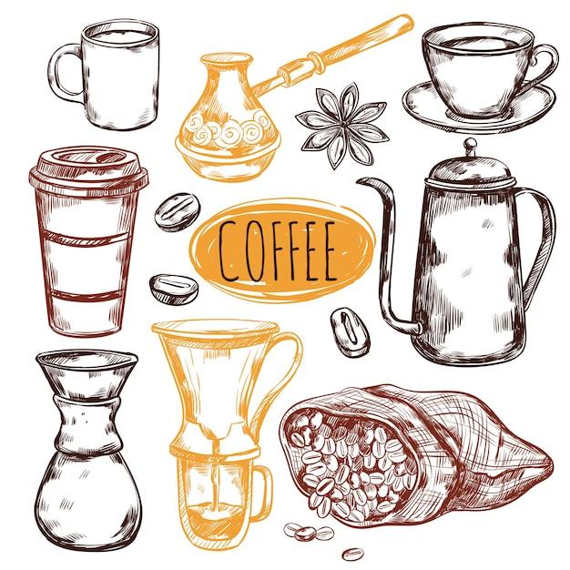 Skizze kaffee elemente set Kostenlosen Vektoren