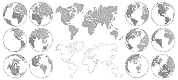 Skizze karte. übergeben sie die gezogene erdkugel und die lokalisierten zeichnungsweltkarten- und -kugelskizzen Premium Vektoren