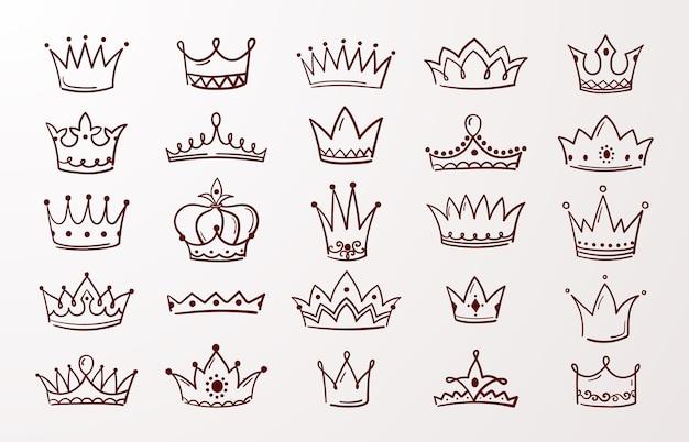Skizze königin oder könig schönheit gekritzel kronen Premium Vektoren