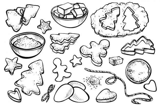 Skizze mit formularen für kekse und weihnachtsplätzchen gesetzt. Premium Vektoren