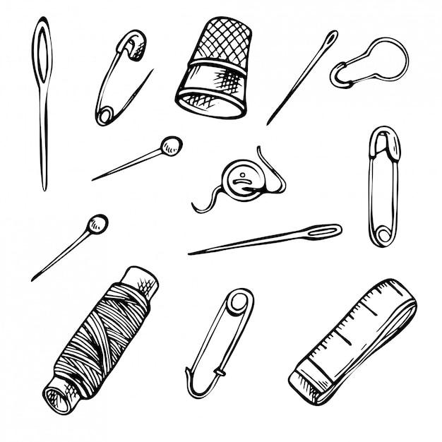 Skizze nähen werkzeugsatz. satz hand gezeichnete tintenillustrationen. Premium Vektoren