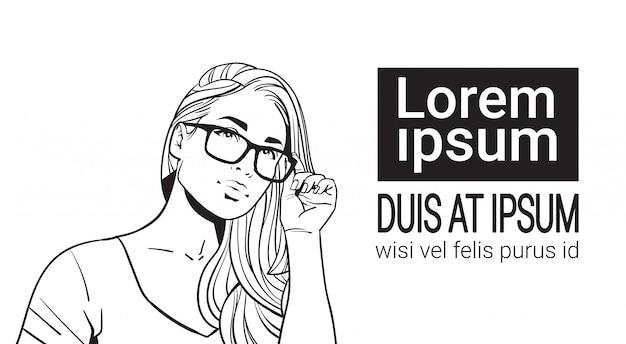 Skizze-porträt von tragenden gläsern der schönen frau attraktive frau mit dem langen haar Premium Vektoren