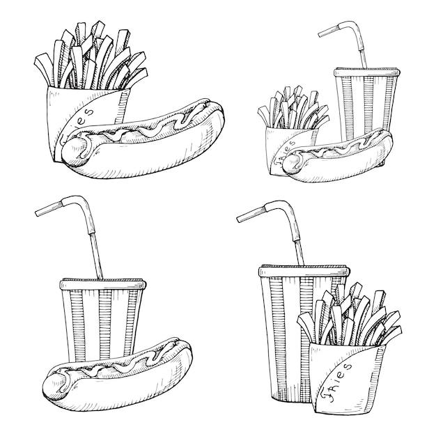 Skizze von fast food. pommes-frites, hotdog und getränk lokalisiert auf weiß Premium Vektoren