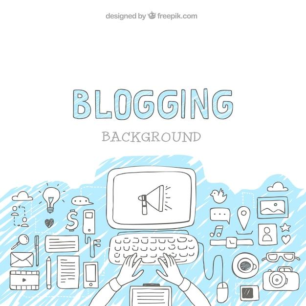 Skizzen blog-elemente hintergrund mit computer Kostenlosen Vektoren