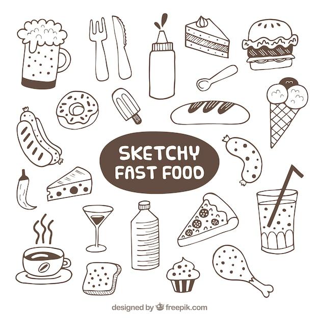 Skizzen fast-food-sammlung Kostenlosen Vektoren