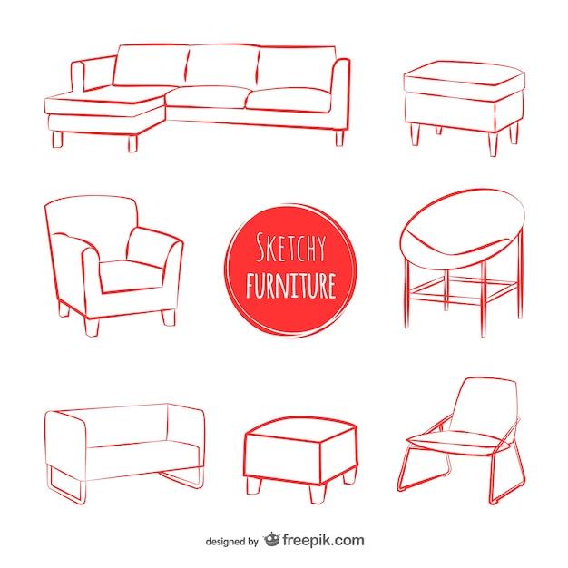 skizzen m bel vektoren download der kostenlosen vektor. Black Bedroom Furniture Sets. Home Design Ideas