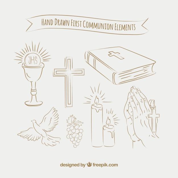 Skizzen pack von ersten kommunion-elementen Kostenlosen Vektoren