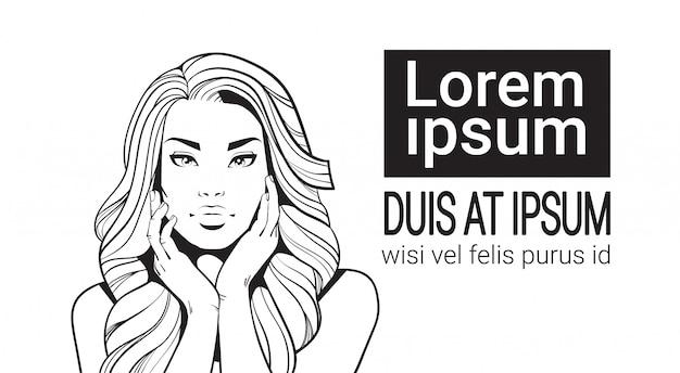 Skizzen-porträt der schönheit mit dem langen haar-rührenden gesicht lokalisiert auf weißem hintergrund Premium Vektoren