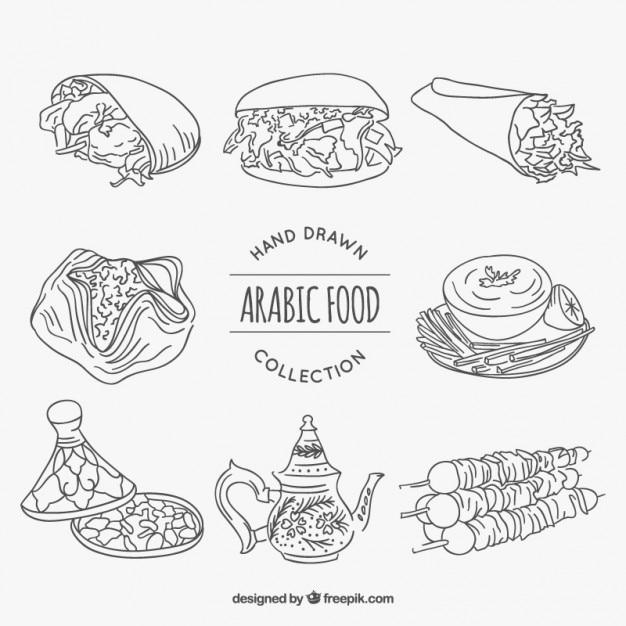 Skizzen verschiedene arabische lebensmittel Kostenlosen Vektoren