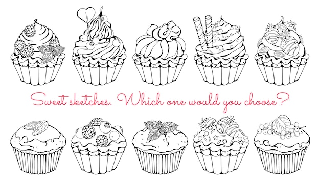 Skizzen verschiedener arten von süßen körben und cupcakes. Premium Vektoren