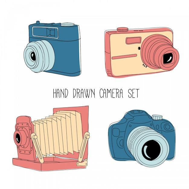 Skizzen vintage-kamera-set Kostenlosen Vektoren