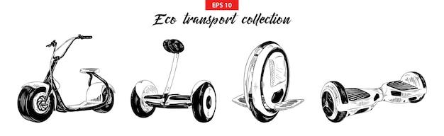 Skizzen von elektromobil, roller, gyroboard Premium Vektoren