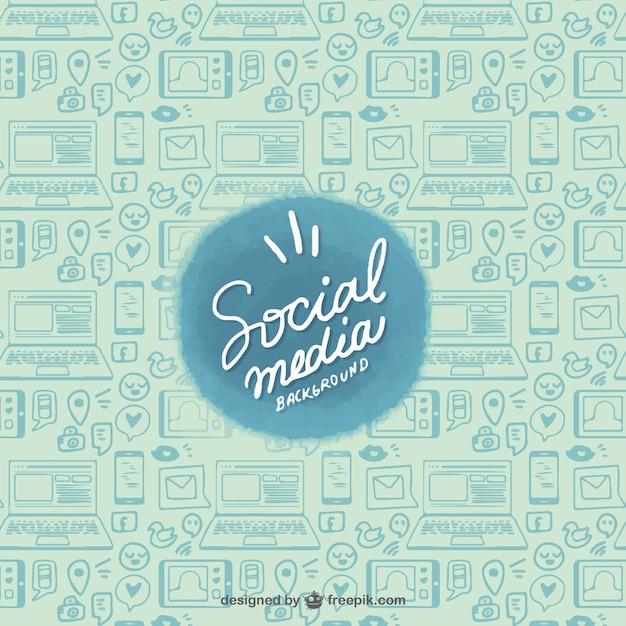 Skizzen von Geräten und sozialen Netzwerken Hintergrund Kostenlose Vektoren