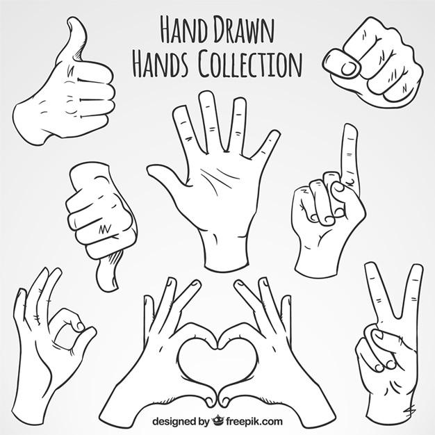 Skizzen von gesten mit den händen festgelegt Kostenlosen Vektoren