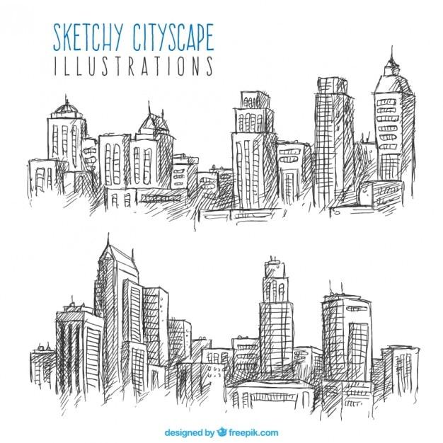 Skizzen von stadtlandschaften Kostenlosen Vektoren