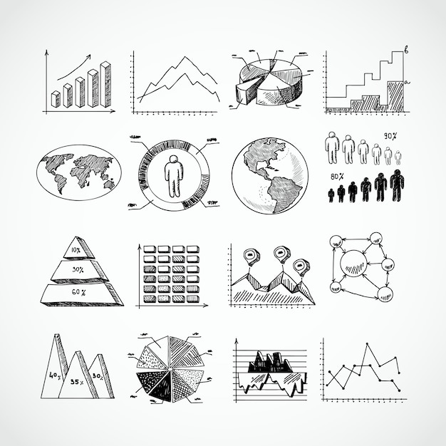 Skizzendiagramme festgelegt Kostenlosen Vektoren