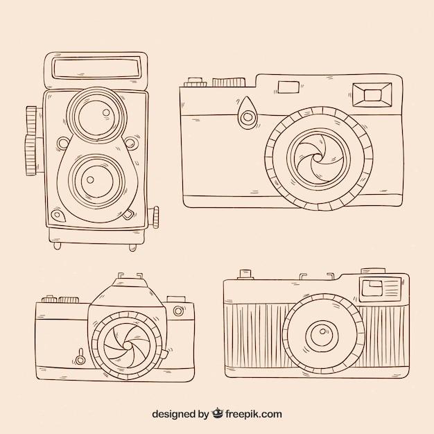 Skizzenhafte fotokamerasammlung Kostenlosen Vektoren