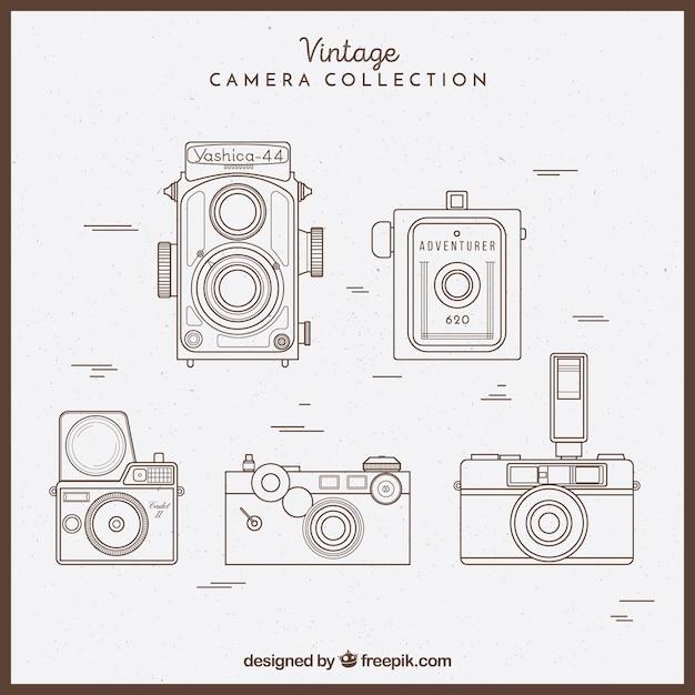 Skizzenhafte vintage-kamera-kollektion Kostenlosen Vektoren