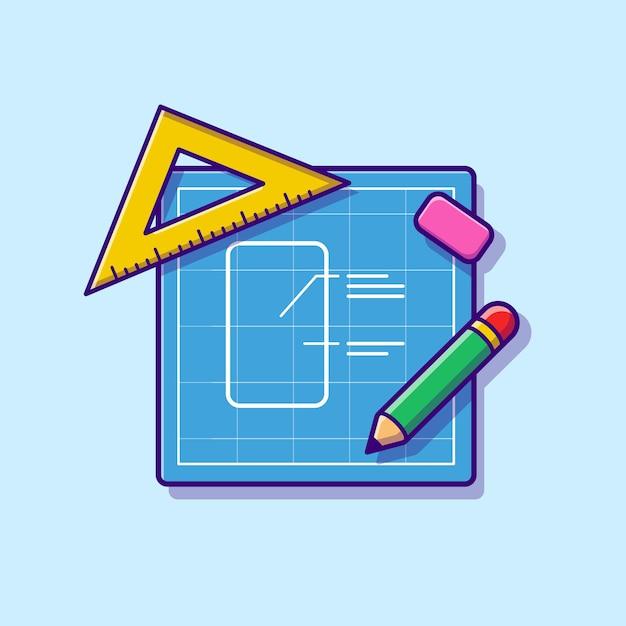 Skizzenpapier mit bleistift, lineal und radiergummi-cartoon Kostenlosen Vektoren