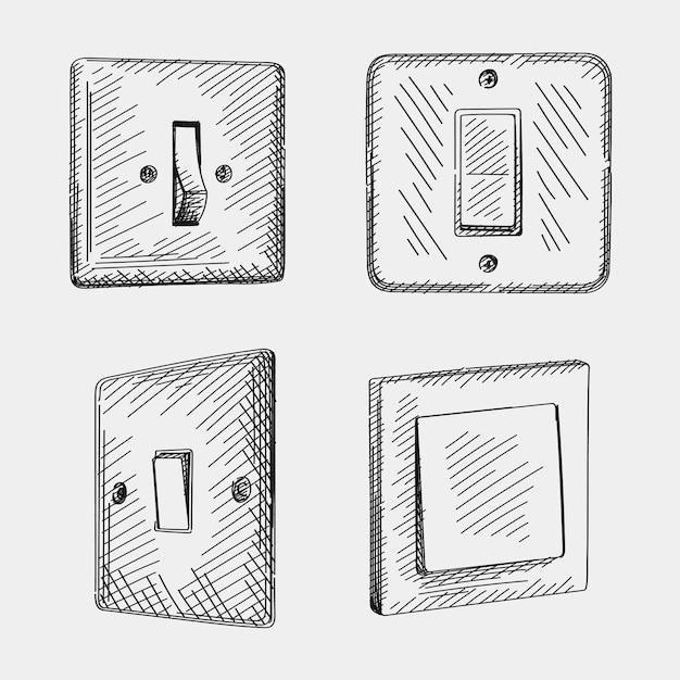 Skizzensatz von hand gezeichneten schaltern. das set enthält einen ein- und ausschaltmodus für den kipplichtschalter, einen wippschalter im europäischen stil und einen wippschalter von leviton decora Premium Vektoren