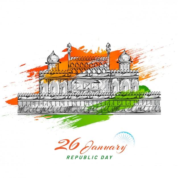 Skizzieren des indischen monument-roten forts mit grün- und safranpinselanschlageffekt auf weiß für den 26. januar, tag der republik. Premium Vektoren