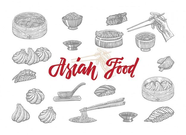Skizzieren sie asiatische nahrungsmittelsammlung Kostenlosen Vektoren