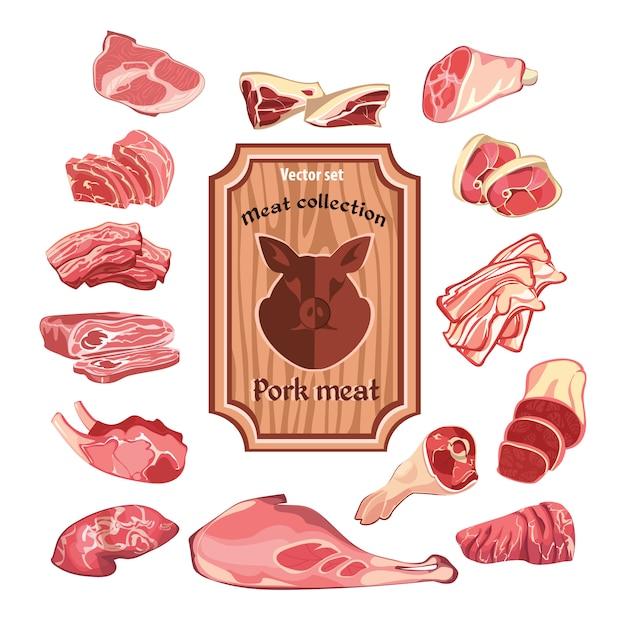 Skizzieren sie bunte fleischelementsammlung Kostenlosen Vektoren