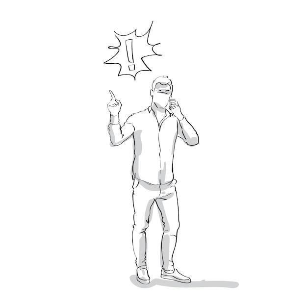 Skizzieren sie den geschäftsmann, der am intelligenten telefon spricht, das problem-punkt-finger zum ausrufezeichen in voller länge auf weißem hintergrund hat Premium Vektoren