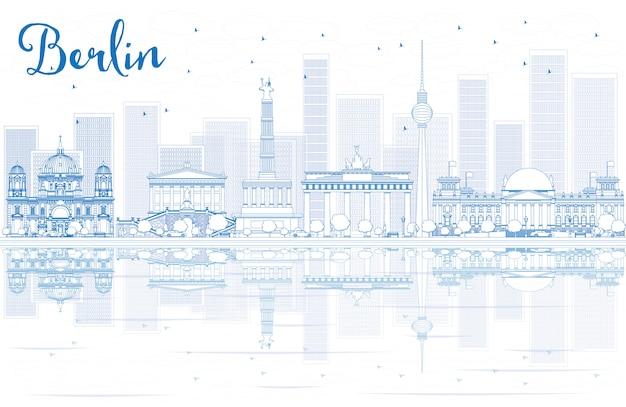 Skizzieren sie die skyline berlins mit blauen gebäuden und reflexionen. Premium Vektoren