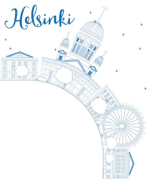 Skizzieren sie die skyline von helsinki mit blauen gebäuden und kopieren sie platz. Premium Vektoren