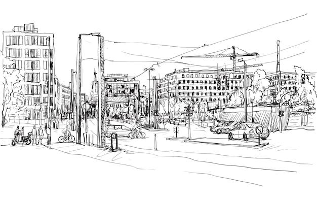 Skizzieren sie die stadtlandschaft der berliner straße mit dem gebäude und den menschen, die entlang der straße gehen Premium Vektoren