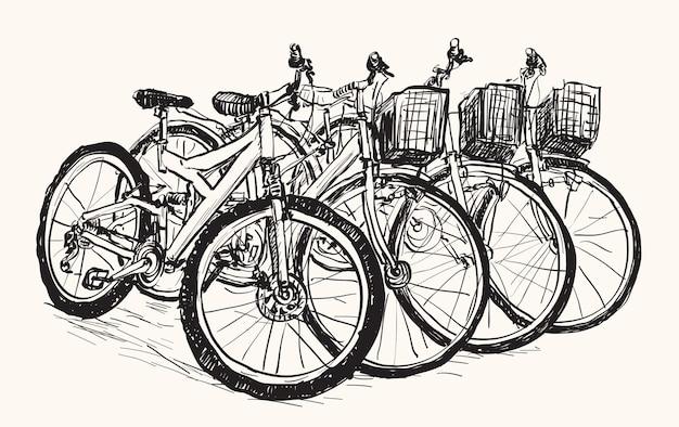 Skizzieren sie eine reihe von fahrrädern zum verkauf oder zur miete, freihandzeichnung Premium Vektoren
