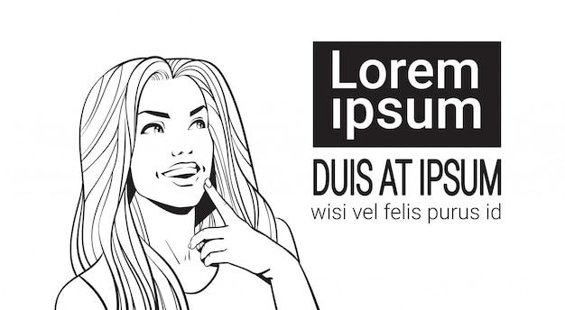Skizzieren sie porträt der schönheit mit dem langen haar, das oben schaut, um den raum zu kopieren und gesicht berühren Premium Vektoren
