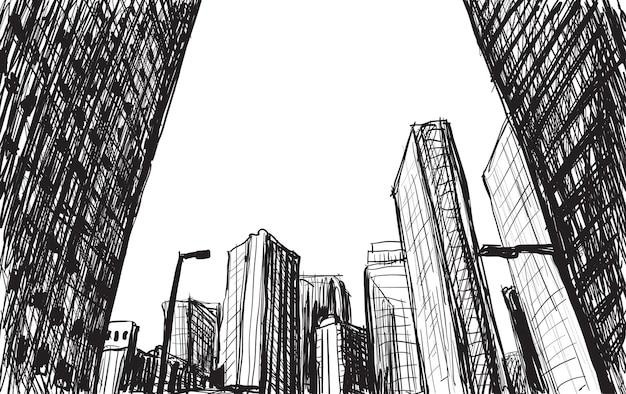 Skizzieren sie stadtbildgebäude in tokio-handzeichnungsillustration Premium Vektoren