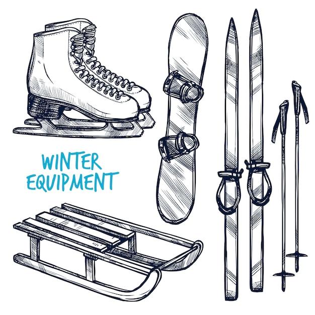 Skizzieren sie wintersportobjekte Kostenlosen Vektoren