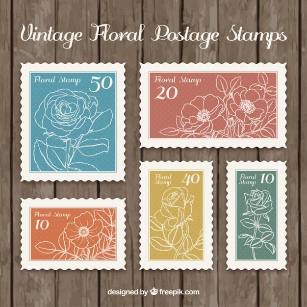 Skizziert floral briefmarken Kostenlosen Vektoren