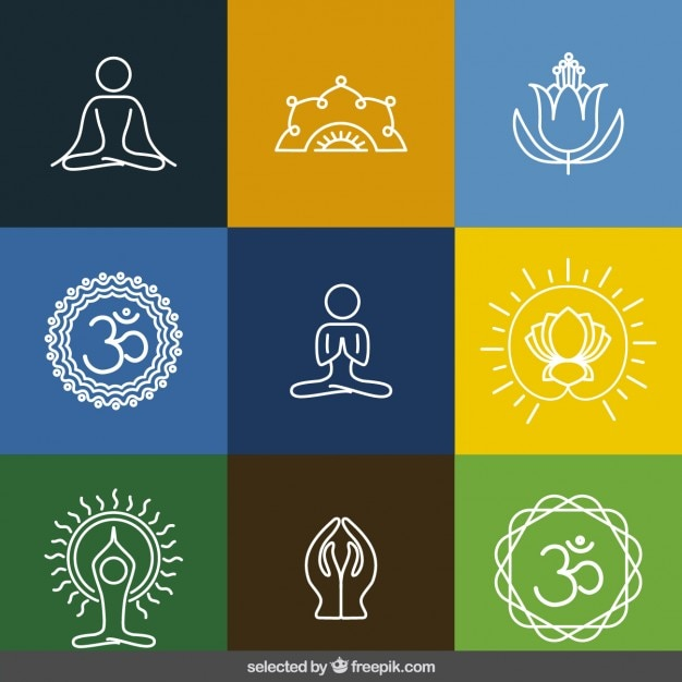 Skizziert yoga-ikonen-sammlung Kostenlosen Vektoren