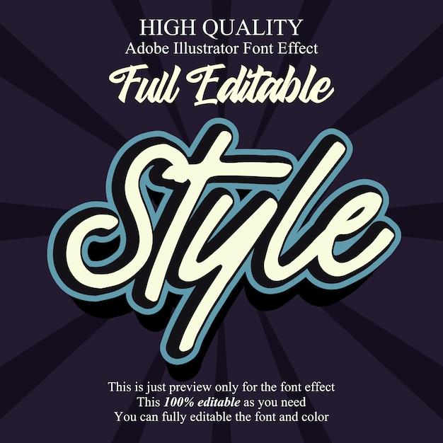 Skript-stil bearbeitbare typografie-schrift-effekt Premium Vektoren