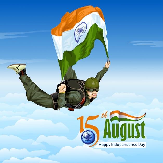 Sky diving mit indischer flagge Premium Vektoren