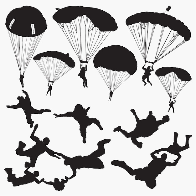 Skydiving silhouetten Premium Vektoren
