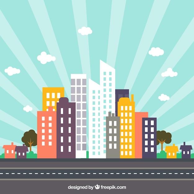 Skyline der Stadt auf psd - flache Farben Kostenlose Vektoren