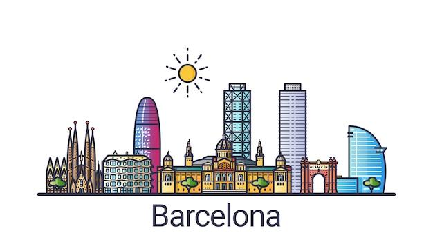 Skyline der stadt barcelona im flachen linienstil Premium Vektoren