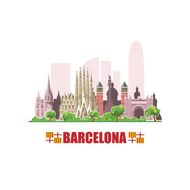 Skyline der stadt barcelona. stadtbild mit berühmten architektonischen gebäuden. auf weißem hintergrund. Premium Vektoren