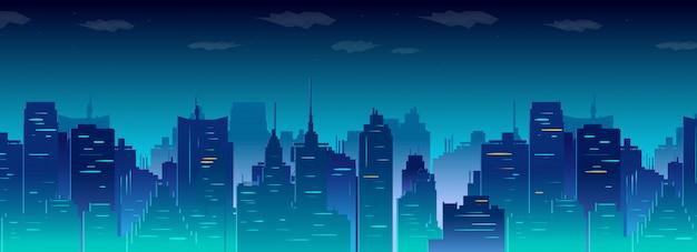 Skyline der stadt bei nacht Premium Vektoren